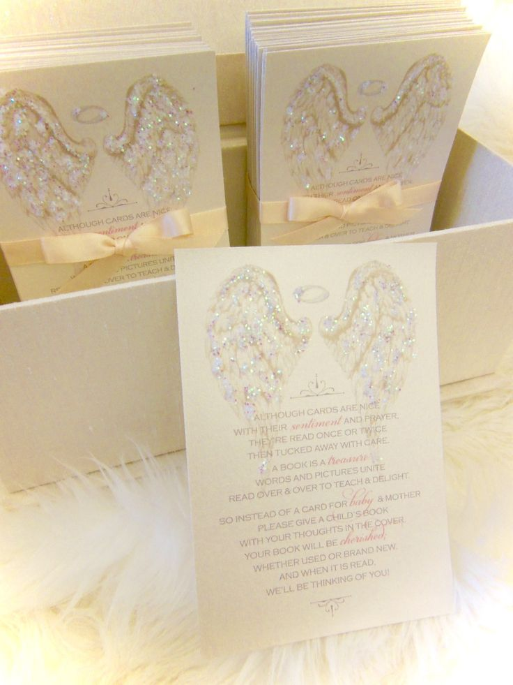 """Baby Shower """"Bring a Book"""" angel wing cards xo embellishments"""