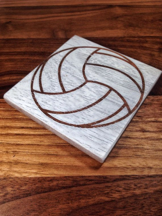 Volleyball Drink Coasters  Walnut Wood Painted White by SodaCreek