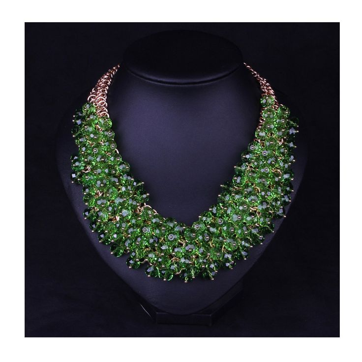 Hamer Women's Green Bib Choker Statement Necklace Gold Plated Chain Pendant Jewelry for Women Party Use ** Find out more at the image link.