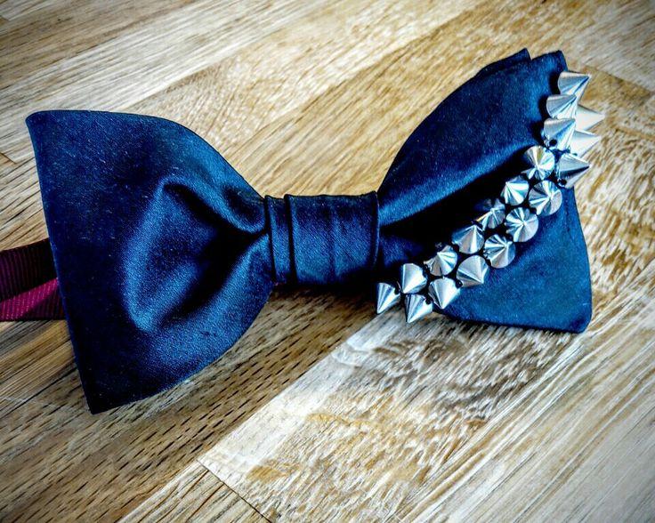 Black silk bowtie with a streak of attitude! #handmade #black #silk #bowtie #studs #helsinki #mensfashion