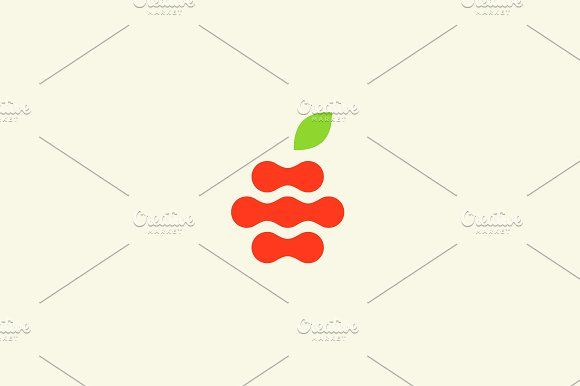 Abstract apple vector logo design template. Fruit fresh organic logotype. by Bureau on @creativemarket