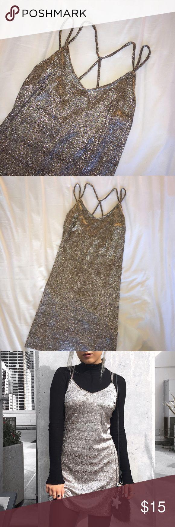 Ardene metallic mini dress Adorable metallic silvery pink tank mini dress by Ardene, stretchy fabric, size small, worn once, NO TRADES ardene Dresses Mini