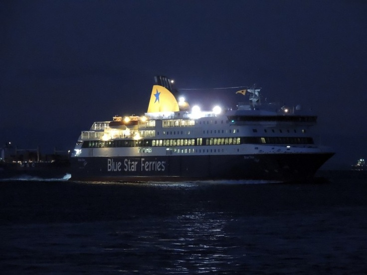Blue Star Patmos at night