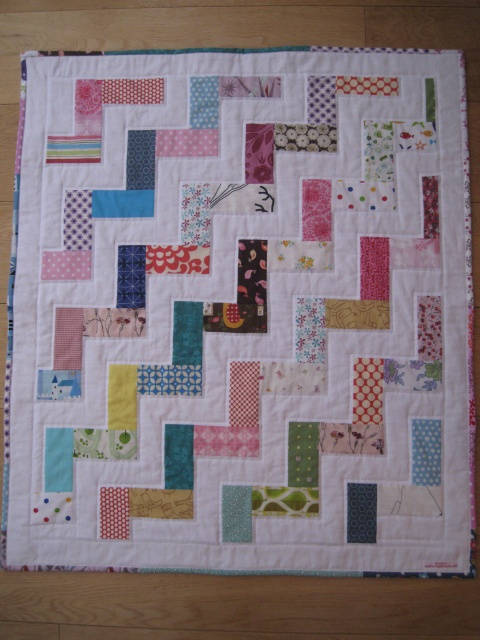 Simple, but effective, rail fence quilt.