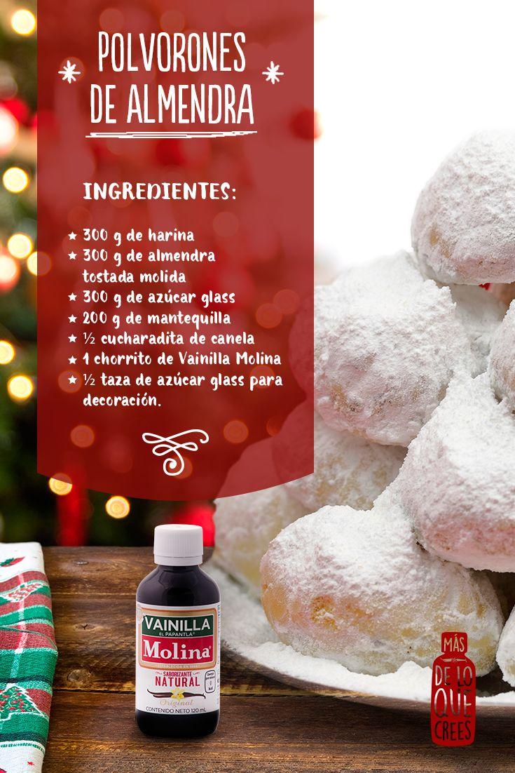 Los #polvorones son un básico y tradicional #postre que no puede faltar en tus posadas. Mezcla la harina, las almendras, y el azúcar. Añade la mantequilla, un chorrito de Vainilla Molina y canela. Amasa hasta lograr una pasta homogénea y lisa. Haz bolitas con la masa con ayuda de tus manos y colócalas sobre una charola para hornear. Hornea a 160°C durante 40 minutos. Deja enfriar y espolvorea con azúcar glass. #receta