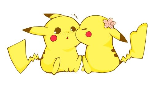 Girl pikachu with cherry blossom in hair ... and they look so innocent ... cute