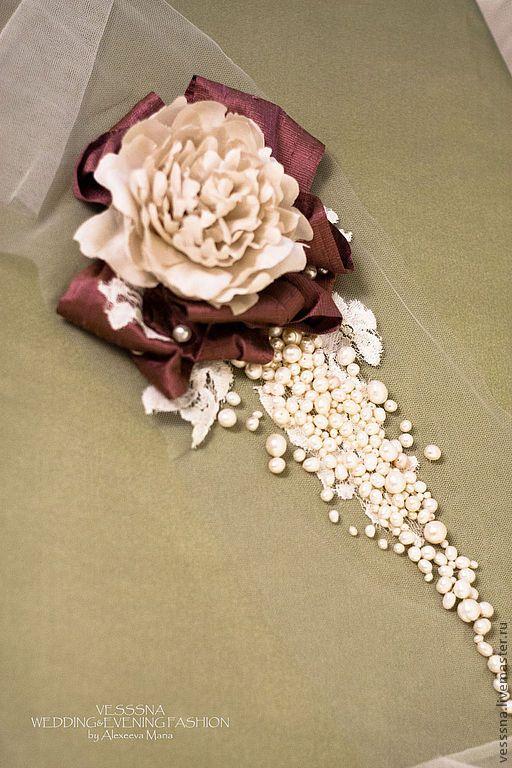 """Купить Свадебный головной убор - свадебная повязка """"Пион"""". Цветы из шелка. - айвори, натуральный жемчуг"""