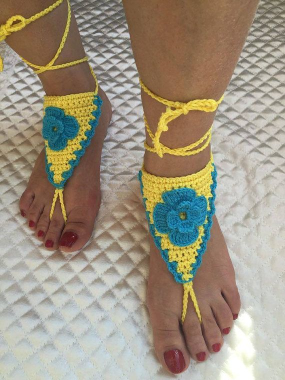 Crochet flower barefoot sandals Barefoot sandals by PinarKnitting