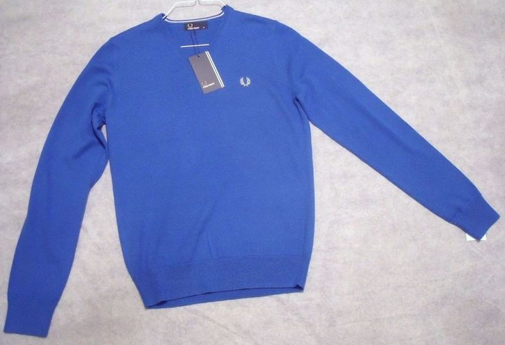 Fred Perry Mens Blue V-Neck Jumper/Jersey/Sweater Size XS (Small) - BNWT / Gift  | eBay