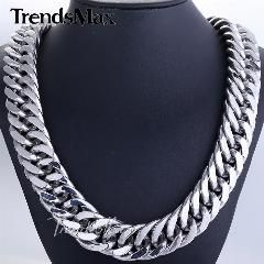 [ 18% OFF ] 18/22Mm Mens Chain Heavy 316L Stainless Steel Silver(Color) Cut Double Curb Link Rombo Boys Necklace Wholesale Gift Hn54 Hn55