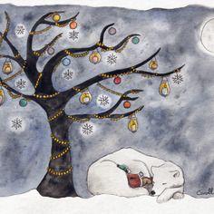 """Carte """"ours"""" - l'arbre de lumière - grand format"""