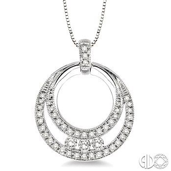 1/2 Ctw Round Cut Diamond Circle Pendant in 14K White Gold with Chain.  Follow Renaissance Fine Jewelry or see us at www.vermontjewel.com