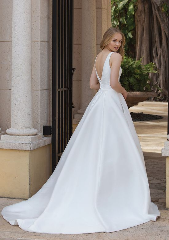 sincerity bridal - style 44080: asymmetric draped ball gown with