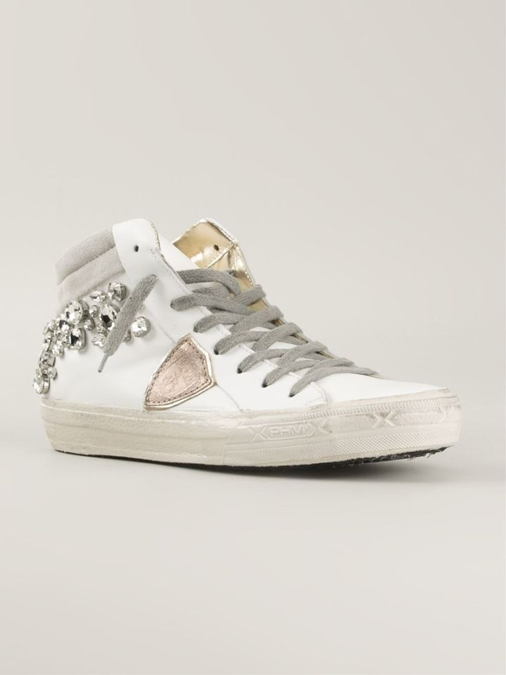 White leather embellished hi-top sneakers from Philippe Model