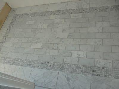 bathroom marble tile floor with border - Bathroom Floors