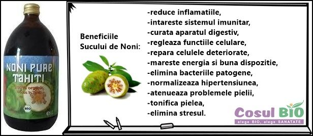 Beneficiile Sucului de Noni: -reduce inflamatiile, -intareste sistemul imunitar, -curata aparatul digestiv, -regleaza functiile celulare, -repara celulele deteriorate, -mareste energia si buna dispozitie, -elimina bacteriile patogene, -normalizeaza hipertensiunea, -atenueaza problemele pielii, -tonifica pielea, -elimina stresul.