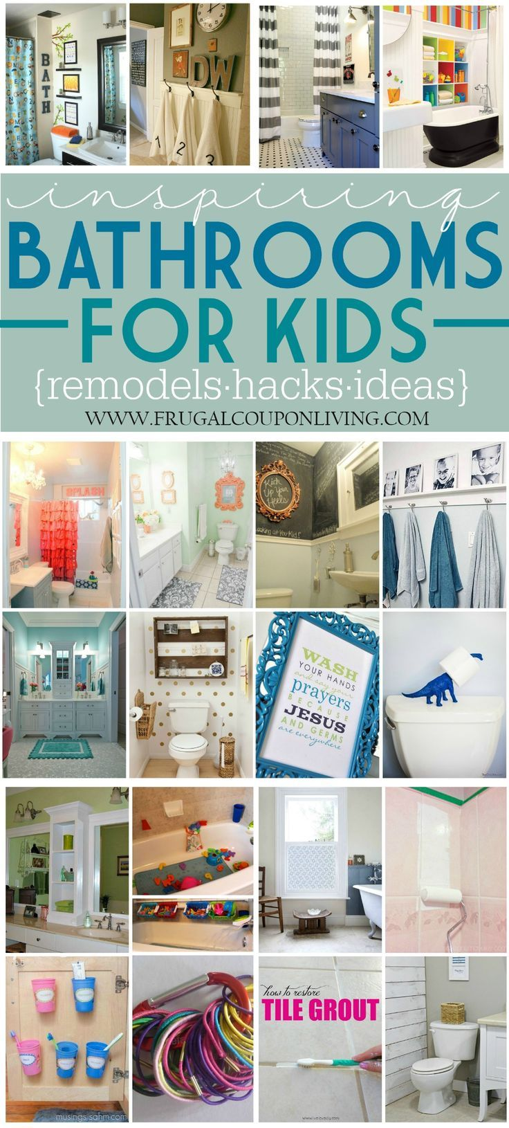 Inspiring Kids Bathrooms - Decorations, Remodels and Hacks on Frugal Coupon Living. Girls Bathroom Ideas, Boys Bathroom Ideas, Bathroom Hacks, Bathroom DIY.