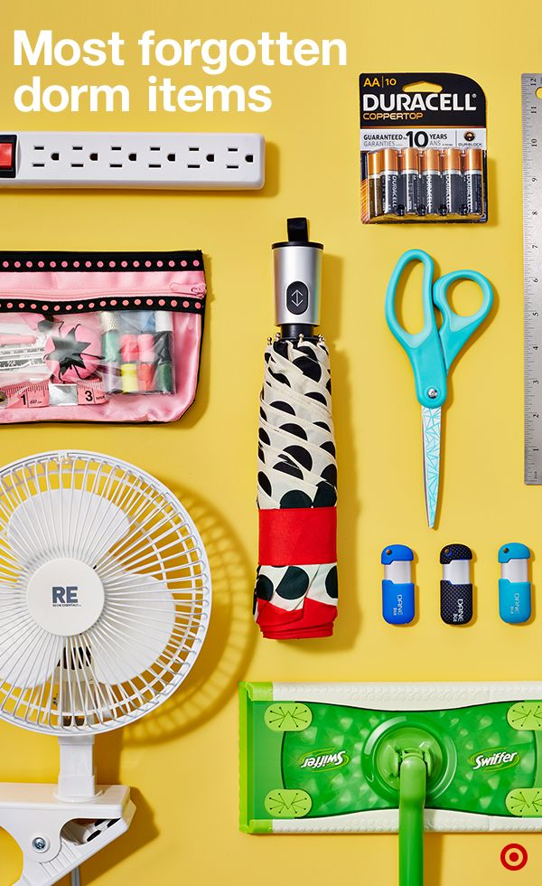 Don't leave for college without these. They're the most-forgotten items...until now. Remember a sewing kit, jump drive, umbrella, cleaning supplies, scissors, batteries, power strip and ruler. Got all of these packed? Your dorm room is ready for the year.