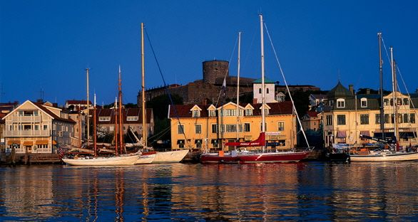 The sun setting over the island of Marstrand