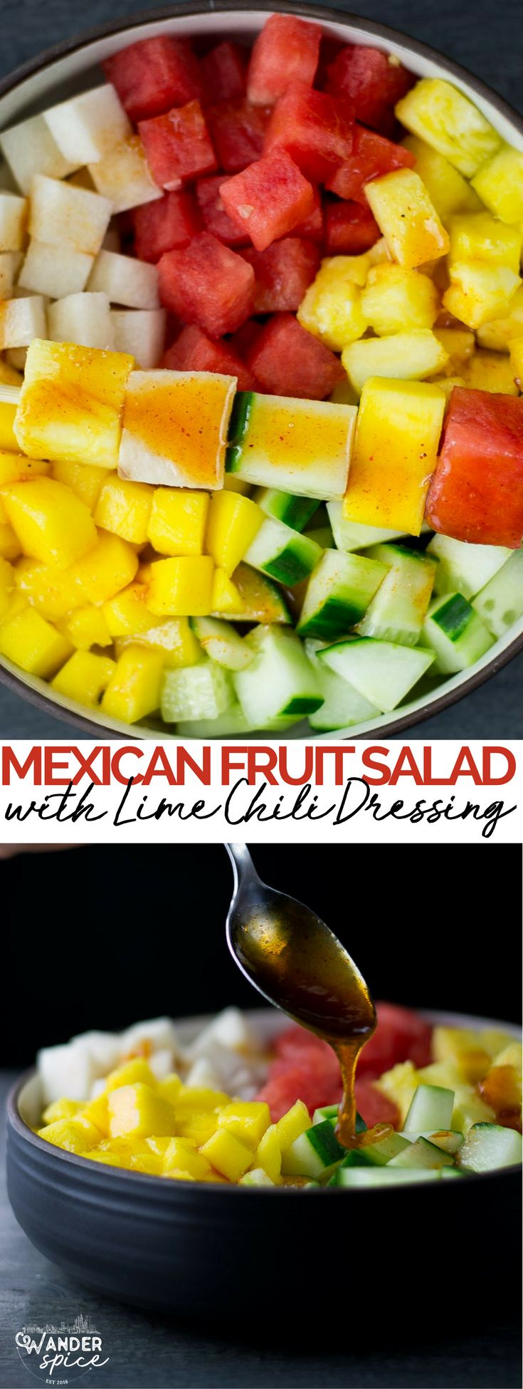 mexican fruit salad recipe | watermelon | cucumbers | jicama | pineapple | mango | vegan