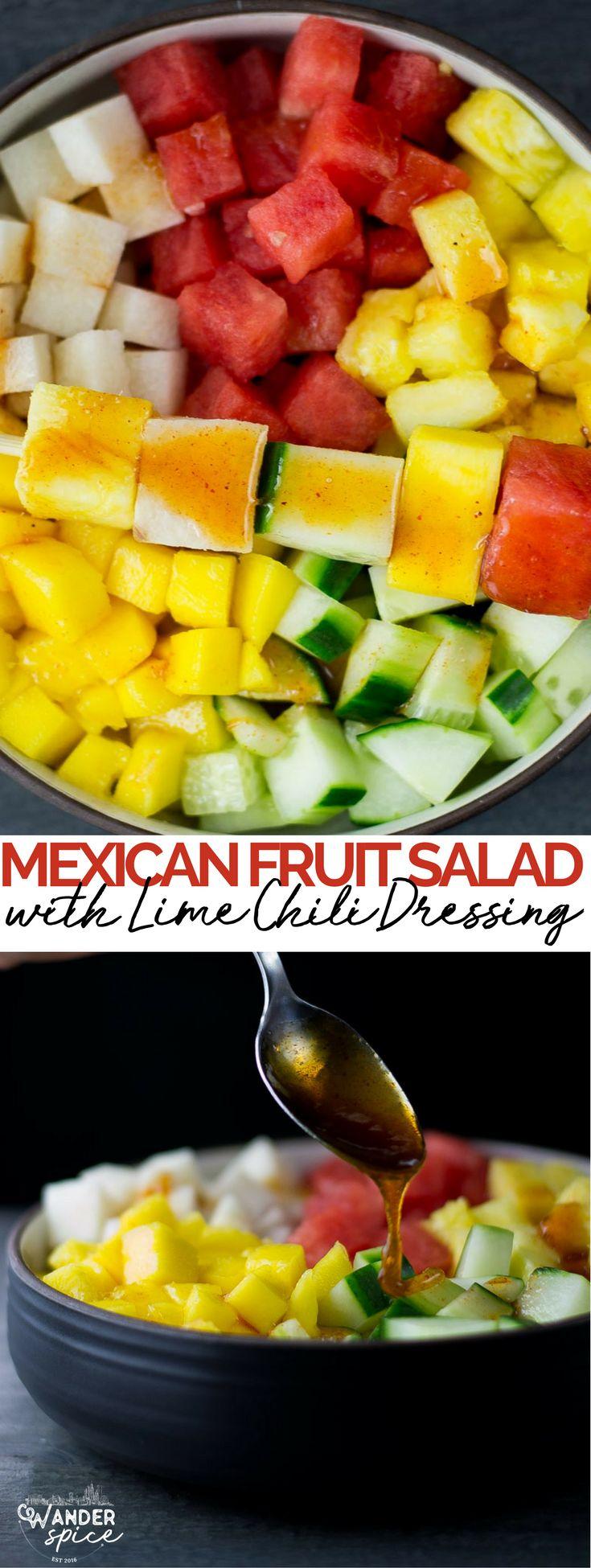 mexican fruit salad recipe | watermelon | cucumbers | jicama | pineapple | mango | vegan