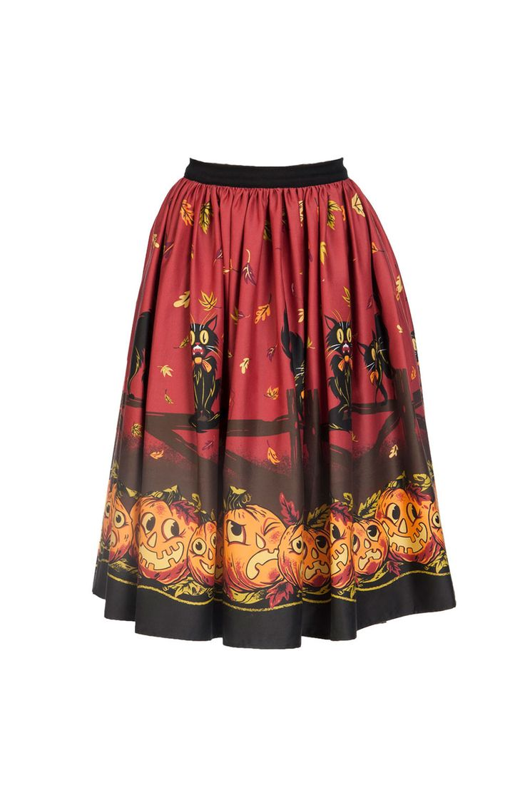 Pinup Couture Jenny Skirt in Pumpkin Border Print