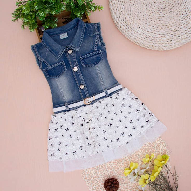 2014 Baby girls jeans dress kids sleeveless denim dresses children girl jeans summer clothing with belt jeans dress for girls