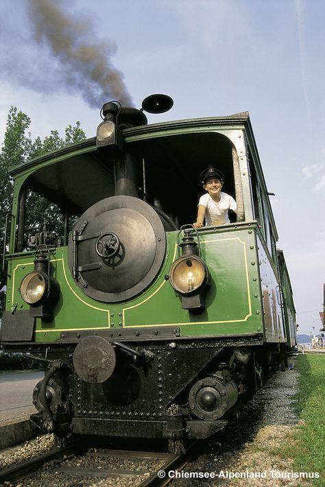 """Chiemseebahn in Prien am Chiemsee - die älteste Dampfstraßenbahn der Welt! The railroad """"Chiemseebahn"""" in Prien at the lake Chiemsee is one of the eldest steam trams in the world!"""