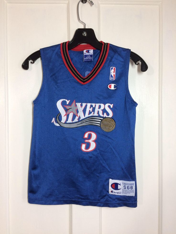 Excited to share the latest addition to my #etsy shop: 1990s kid's vintage Sixers #3 Allen Iverson Champion brand NBA basketball jersey kids size small 6-8 Philadelphia 76ers blue tank top
