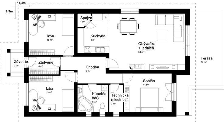 podorys bungalov krásna /  ground plan / bungalow / house / projekt