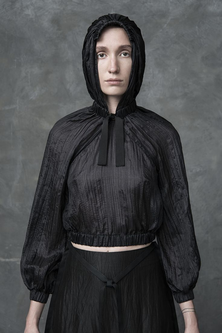 DZHUS – XYLANTHRAX top – A crushed chiffon hooded bomber with elastic gatherings.