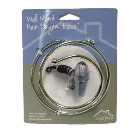 Wall Mount Spiral Chrome Hair Dryer Holder Caddy, (hair dryer holder, unclutter, hair dryer holster, hair dryer accessories, bathroom accessories, bathroom organizer, blowdryer storage, blow dryer holder, great organizer, hair care)