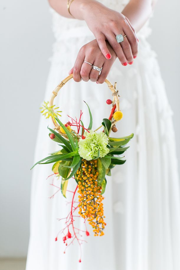 Bouquet alternative   SouthBound Bride   http://www.southboundbride.com/local-colour-styled-shoot-from-the-new-wedding-inspirations-magazine   Credit: Jack and Jane Photography