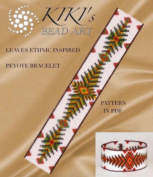 Peyote pattern for bracelet - Leaves ethnic inspired peyote bracelet pattern in PDF - instant download