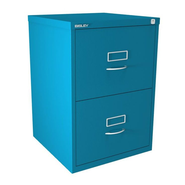 Amazing 2 Drawer Bisley Filing Cabinet   Azure   BS Series   Classic Handles