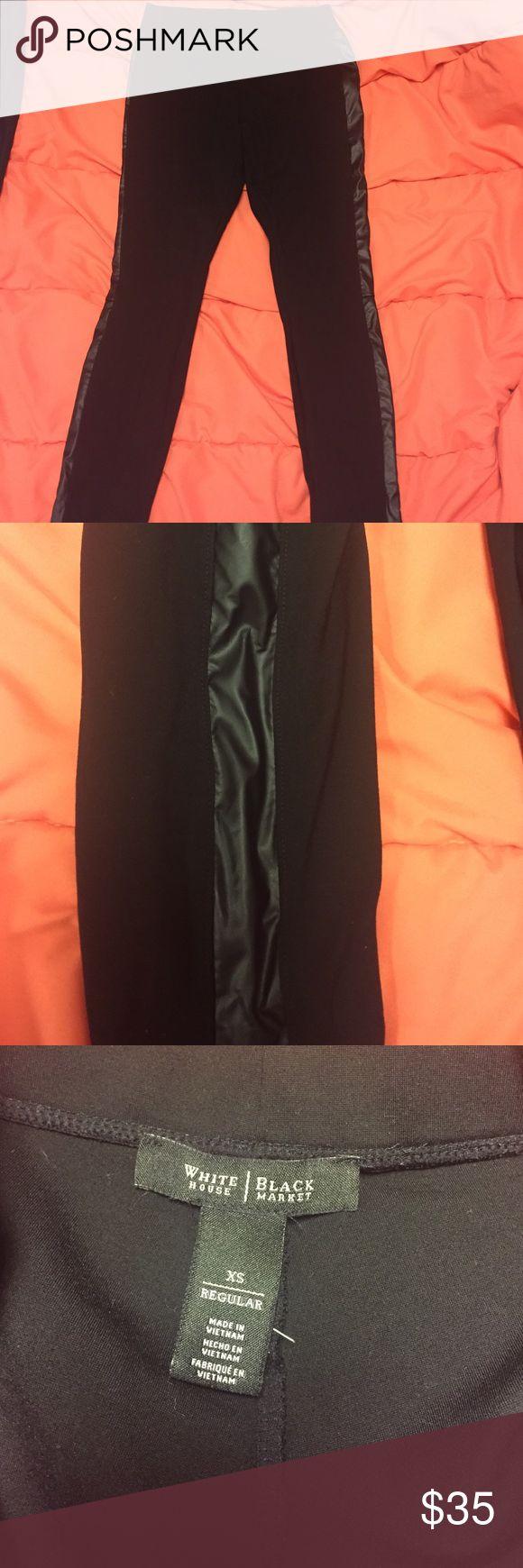 Dress Leggings Thick black leggings with faux leather strip down center. Dress them up or down! White House Black Market Pants Leggings