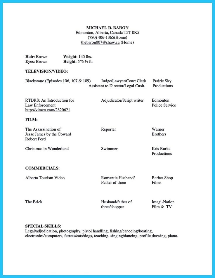 Child Acting Resume Sample