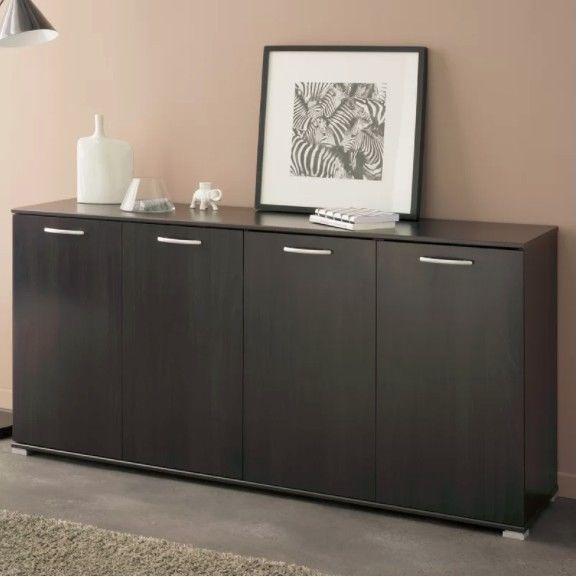 Large Wooden Sideboard Cabinet Storage 4 Door Cupboard Shelves Modern Furniture