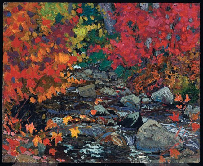 J. E. H. MacDonald | Autumn Leaves, Batchewana Woods, Algoma (c. 1919) | Oil on composite woodboard, 21.6 x 26.7 cm | © Art Gallery of Ontario
