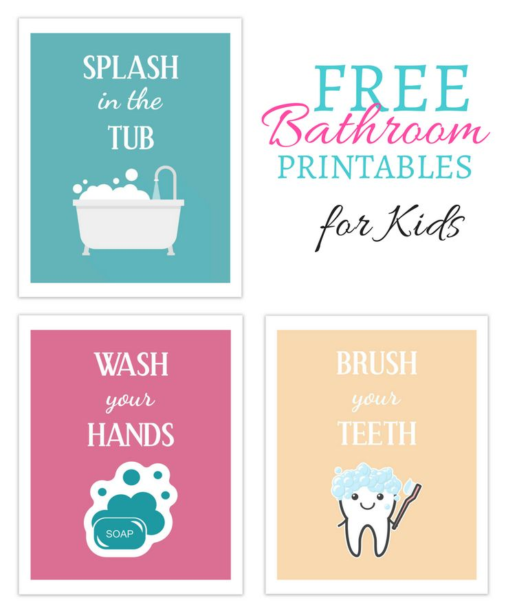 Free Printable Bathroom Pictures: Download This Set Of 3 Free Printables For Your Kids