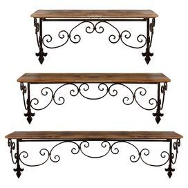 """Set of three scrolling iron and wood wall shelves with fleur-de-lis detail. Product: Small, medium and large wall shelf setConstruction Material: Iron and woodColor: Brown and blackDimensions: Small: 7"""" H x 19"""" W x 9"""" DMedium: 7"""" H x 24.5"""" W x 9.5"""" DLarge: 7"""" H x 32"""" W x 10"""" DCleaning and Care: Dry wipe clean with cloth"""