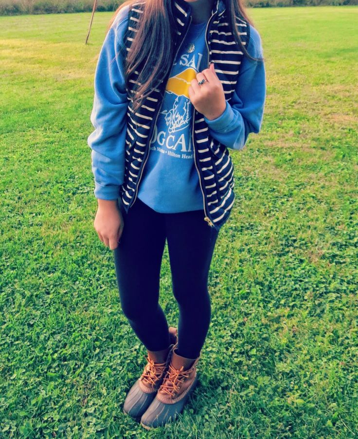 long sleeve tee t shirt salty dog, leggings, j crew striped vest, bean boots