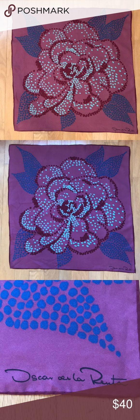 Oscar de la Renta Scarf Purple background with polka dotted flower in wine burgundy and ligh gray blue with royal blue leaves. Silk blend fabric. Hand rolled hem. Oscar de la Renta Accessories Scarves & Wraps