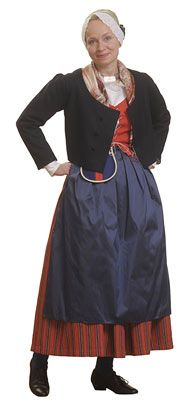 Traditional Finnish folk costume, a woman´s dress representing the region of Lavia in southwest of Finland.