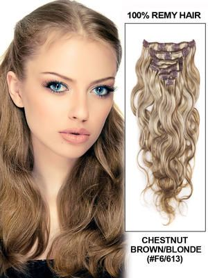 22 best clip in hair extensions images on pinterest hair 20 7 piece deluxe set silky straight clip in indian remy human hair extension chestnut brownblonde pmusecretfo Gallery