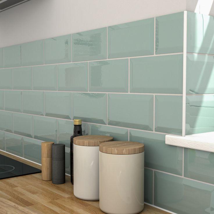 Trentie Green Gloss Ceramic Wall tile, Pack of 40, (L ...
