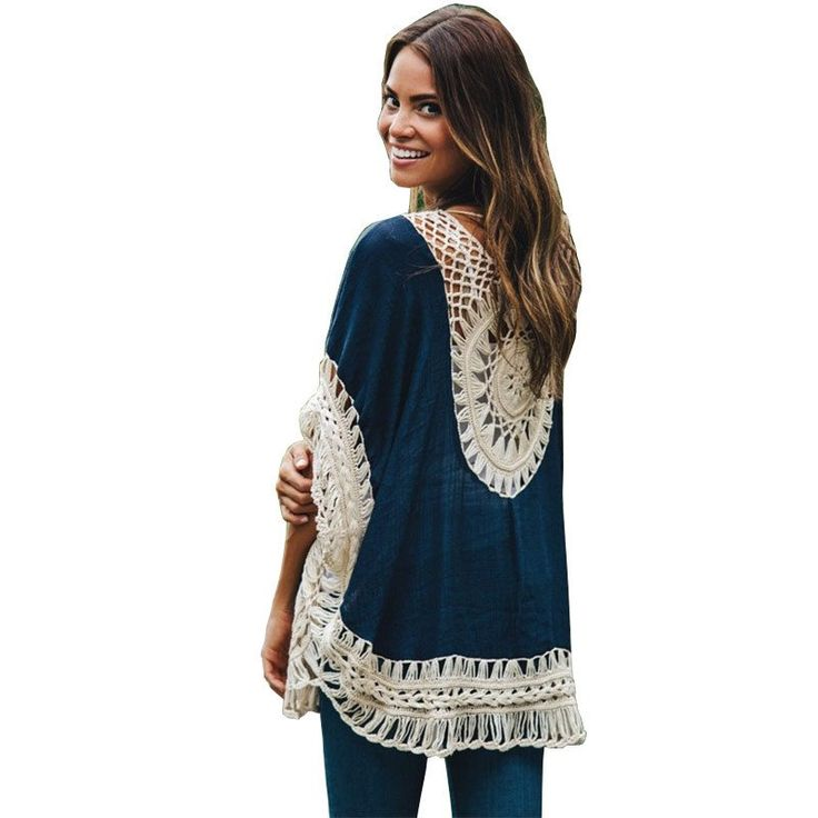 Summer Style 2016 Women Blouses Oversized Lace Crochet Knitted Boho Tunic Top Plus Size Blusa Feminina Shirt Tropical Tops 40430