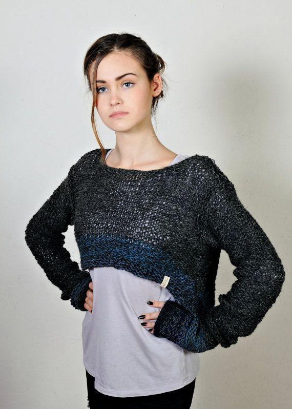 Gray women's sweaterslouchy knit sweaterslong by Isabellwoolstudio