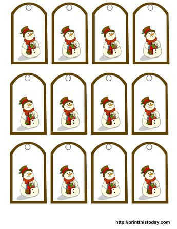 Free Printable Snowman Christmas Gift Tags | gift tags | Pinterest ...