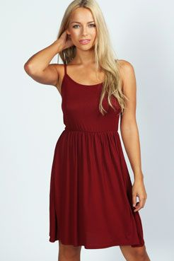 Suzie Strappy Skater Dress at boohoo.com